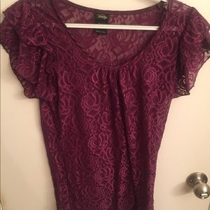 Purple frilly lace rose top